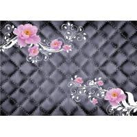 Quality Pink Roses 3D Bamboo Decorative Wall Panels Crystal Surface Environmental Protection wholesale