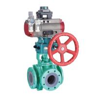 China SS Stainless Steel Corrosion Resistant Pneumatic Lined Three Way Ball Valve on sale