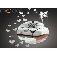 Quality DIY 3D Acrylic Mirror Wall Sticker Clock For Wedding Gift , Silent Movement wholesale