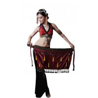 China Egyptian tribal velvet belly dance hip scarf with coin , tassels black or coffee color on sale