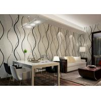 Quality Dining Room PVC Modern Removable Wallpaper With Black Wave Printing wholesale