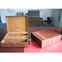 Quality Recyclable Leather Cover Wine Packaging Boxes With Metal Locked , Hot Stamping wholesale