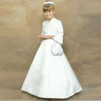 Quality Long Sleeves Satin White Flower Girl Dress, Various Colors are Available wholesale