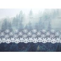 Quality Custom Floral Embroidered Mesh Nylon Lace Trim With Scalloped Edge By Oeko Tex wholesale