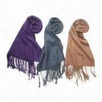Quality Knitted scarves with tassel, whole-colored, made of acrylic, customized designs/colors are accepted wholesale