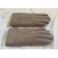 Quality Double Face Mens Sheepskin Lined Leather Gloves Soft Warm For Winter / Driving wholesale