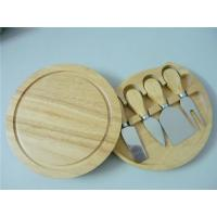 China Hot sale healthy Round shape cheese board set , acacia wood cheese board with 4 Knives on sale