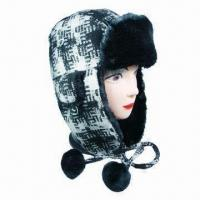 China Fashionable plaid winter trapper hat with tipper fur on front on sale