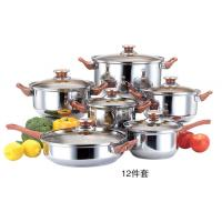Quality 12pcs cookware set with tawny class lid & cooking pot with kettle & kitchenware wholesale