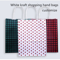 China Recyclable 128gsm White Kraft Paper Shopping Bag With Drawstring Handle on sale