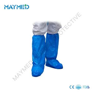 China Blue CPE Plastic Medical Elastic Disposable Boot Covers on sale
