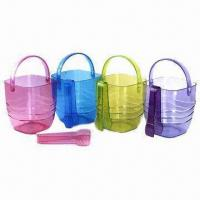 Quality Ice Buckets, Made of Plastic, Customized Logo Printings are Accepted wholesale