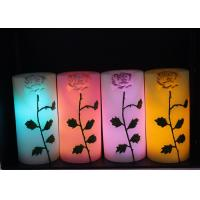 Quality Rose Carved Wedding Led Candles Battery Operated With Color Changing wholesale