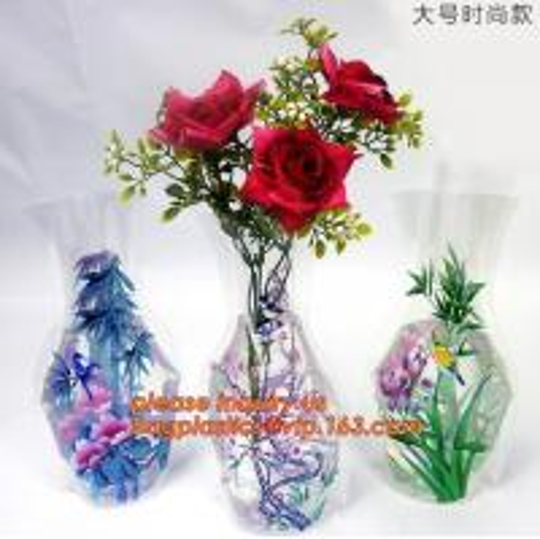 Cheap artificial foldable pvc decorative wedding plastic vase,pp plastic flower sleeve bag,pp transparent flower single rose s for sale
