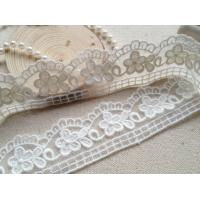 China 3CM Pretty Scalloped Edge Nylon Lace Trim Off White For Wedding Dress Sewing on sale