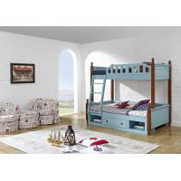 Quality Sky blue painting bunk bed for children bedroom in solid wood frame and MDF plate with storage drawers in apartment furn wholesale