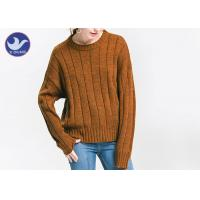 Quality Anti - Pilling Brown Womens Knit Pullover Sweater Soft Rib Knitting Apparel wholesale