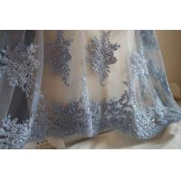 Quality Pale Blue Beaded 3D Flower Lace Fabric By The Yard For Wedding Dress wholesale