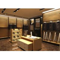 Cheap Wood Grain Clothing Display Case Beige Coating Color For Men Suit Store for sale
