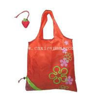 China Strawberry Folding Reusable Compact Eco Recycling Use Shopping Bag,Red on sale