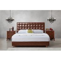 Quality Leather / Fabric Upholstered Headboard Bed for Apartment Bedroom interior fitment by Leisure Furniture with Wooden table wholesale