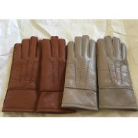 Quality Windproof Men'S Shearling Sheepskin Gloves , Thick Fur Lined Leather Gloves Mittens  wholesale