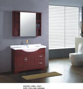 Quality Mahogany flush color Ceramic Bathroom Vanity Double Ceramic basin soft closer wholesale