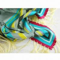 China Pure Silk Scarf with Fringe, Made of Silk Twill, Measures 110 x 110cm on sale