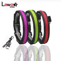 Quality Waterproof Flashing Dog Collar , Nylon Material Safety Rechargeable Petsafe Dog Collar wholesale
