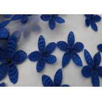 China 49 - 50 Width Blue Flower Embroidered Stretch Lace Fabric Dress Pure Polyester on sale