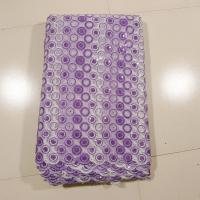 Quality Purple Embroidered Swiss Net Lace , Wedding Dress wholesale