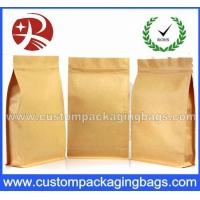 Cheap Top Zipper Kraft Paper Coffee Packaging Bags With Square Bottom for sale