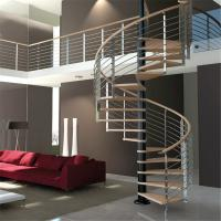 Quality Luxury Wood Tread Stainless Steel Railing Indoor Use Spiral Staircase wholesale