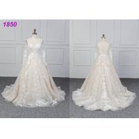 Quality Bridal Long Sleeves Lace Designs A Line Ball Gown Wedding Dress Custom Made wholesale