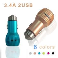 Quality Two Port  Universal USB Car Charger Aluminium Alloy Safety Emergency Rescue Harmer Car Charger wholesale
