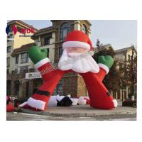 Cheap Red Santa Claus Inflatable Holiday Decor , Advertising Inflatable Arch Way 6m Size for sale