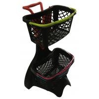 Quality 580x480x980 Plastic Shopping Basket Trolley With 3 Inch TAPE Wheel wholesale