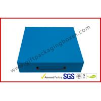 China Sky Blue Print Rigid Board Packaging Boxes , Chocolate damask inner with Plastic handle on sale