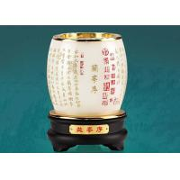China Luxury Rotatable Pen Container Colored Glaze Material Made With Wooden Base on sale