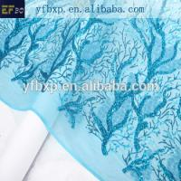 Quality F50274 teal blue sequin net embroidery lace fabric for wedding dress wholesale