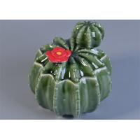 Quality Green Cactus Shaped Ceramic Candle Holder With Lids For Home Fragrance Decor wholesale
