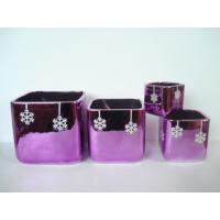 Quality Purple Electroplate Ceramic Indoor Plant Pots , Square Ceramic Pots For Plants 10 X 10 X 10 Cm wholesale