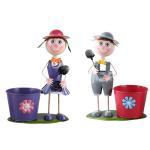 Quality Metal Pot Garden Planter, Iron Boy Girl Figures Garden Flower Pot wholesale