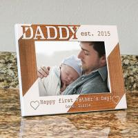 Quality Personalized Dad Picture Frame-Happy First Fathers Day-Wood Engraved-Fathers Day Gift-Firs wholesale