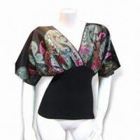 Quality Ladies Blouse, Made of Polyester Satin, Viscose/Nylon knitted Jersey Bottom wholesale