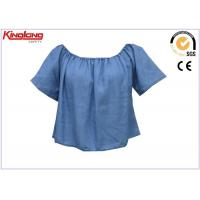 Quality Short Sleeve Cooling Summer Wear Blue Denim Shirt For Womens , Jean Cloth wholesale