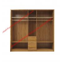 Cheap five DOORS wardrobe chest with open doors in soft stainless hinge and rubber wood racks with cloth shelves for sale