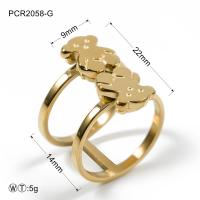 Quality Three Color Stainless Steel Cute Bear Double Ring Jewelry 7 / 8 / 9 Size wholesale