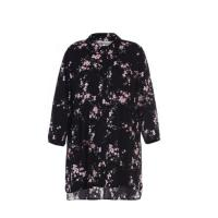 China Ladies Mid Length Shirt Blouse Casual Style With Half Sleeve In Chiffon Print on sale