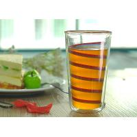 Quality Elegant Double Wall Borosilicate Glass Ribbon Decal Inside Decoration Glass Juice Cups wholesale